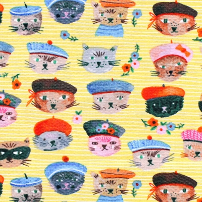 <img class='new_mark_img1' src='https://img.shop-pro.jp/img/new/icons12.gif' style='border:none;display:inline;margin:0px;padding:0px;width:auto;' />Windham Fabrics Ooh La La Yellow Cool Cats