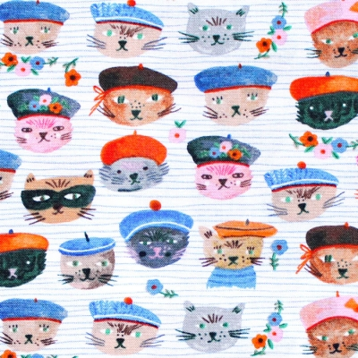 <img class='new_mark_img1' src='https://img.shop-pro.jp/img/new/icons12.gif' style='border:none;display:inline;margin:0px;padding:0px;width:auto;' />Windham Fabrics Ooh La La White Cool Cats