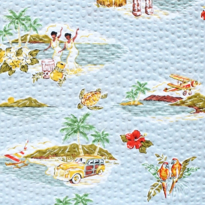Robert Kaufman Plisse SB-4146D1-2 Stylish Aloha / Hawaii Grey
