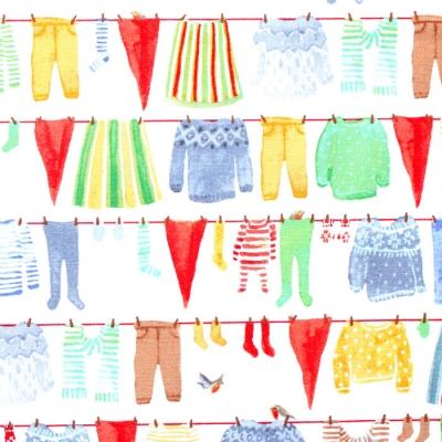 Windham Fabrics Winter Gnomes 51875-2 Gnome Laundry in Snow White