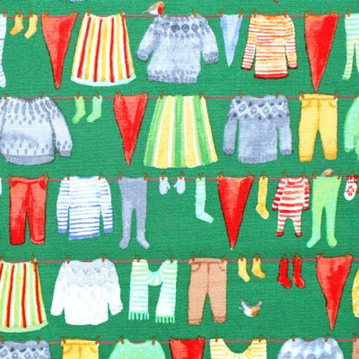 <img class='new_mark_img1' src='https://img.shop-pro.jp/img/new/icons12.gif' style='border:none;display:inline;margin:0px;padding:0px;width:auto;' />Windham Fabrics Winter Gnomes 51875-3 Gnome Laundry in Evergreen