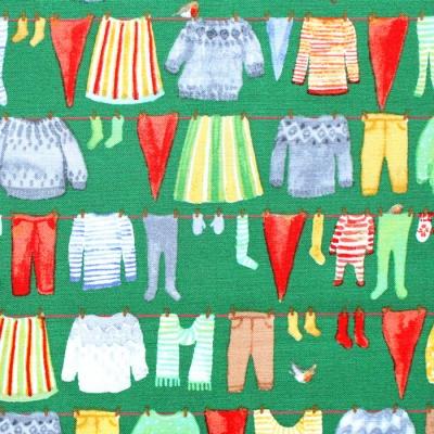Windham Fabrics Winter Gnomes 51875-3 Gnome Laundry in Evergreen