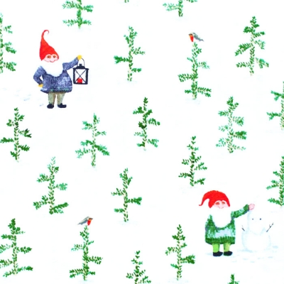 Windham Fabrics Winter Gnomes 51876-2 Tree Farm in Snow White