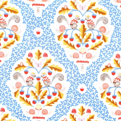 Windham Fabrics Sweet Oak 51305-2 Squirrel Damask White