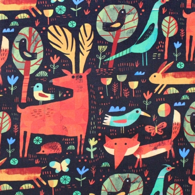Windham Fabrics Woodland 52283D-4 Forest Critters Black