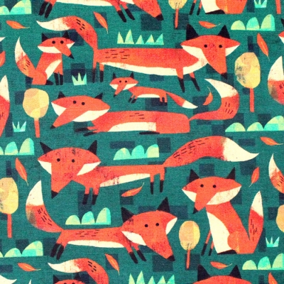 Windham Fabrics Woodland 52284D-5 Little Foxes Forest