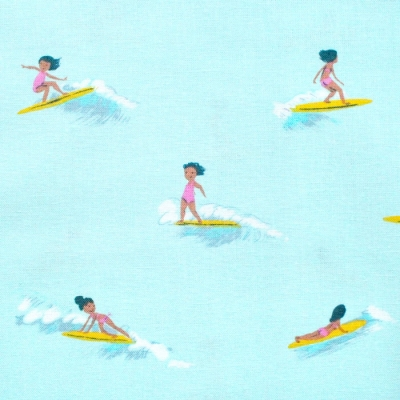 Windham Fabrics Malibu 52146-6 Tiny Surfers Sea Foam