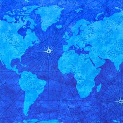 Timeless Treasures Quilter's Trek Blue QTI-C7738 Needlpoint Map