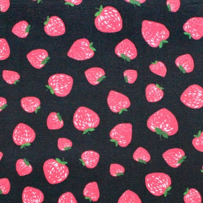 Michael Miller Fabrics Kiss The Cook CX8106-BLAC Strawberry Jam Black