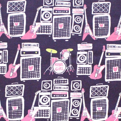 Paintbrush Studio Fabrics Rebel Girl 120-21852 Sound Speakers & Guitars