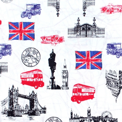 Robert Kaufman Next Stop, London SB-850262D3-1 London Icons White
