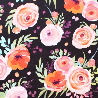 Michael Miller Fabrics Breakfast in Bed DDC9595-BLAC Winter Bouquet Black