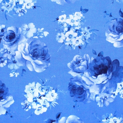 Timeless Treasures Bluebird C8448-BLUE Medium Flowers Blue