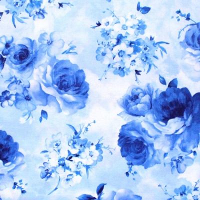 Timeless Treasures Bluebird C8448-SKY Medium Flowers Sky Blue