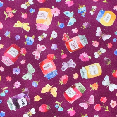 Michael Miller Fabrics In The Garden DCX9487-CRAN Jam Pots Cranberry