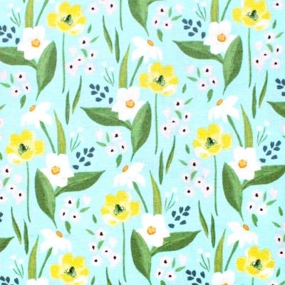 Windham Fabrics Cora 52360-2 Happy Floral Aqua