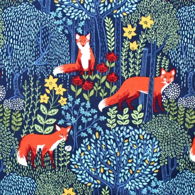 Michael Miller Fabrics Into The Woods DC7727-NITE Fox Nite