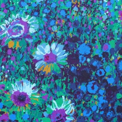 Robert Kaufman Fabrics Painterly Petals SRKD-19148-9 Floral Zinnia Garden Navy