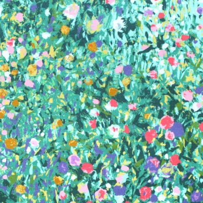 Robert Kaufman Fabrics Painterly Petals SRKD-19149-7 Floral Border Garden Green