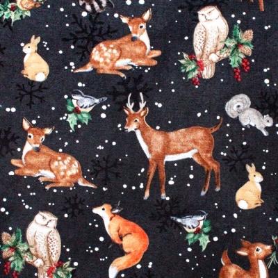 Wilmington Prints Winter Forest 39691-923 Animal Toss Black