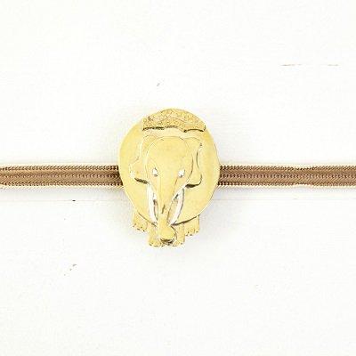 《K−AZU》彫金帯留め−白象−