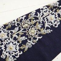 《六花オリジナル》ビーズ刺繍半衿【ビブネイビー】