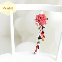 《レンタル》つまみ細工髪飾り・ピンクバラ<さがり付き>
