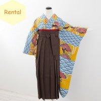 《レンタル》卒業袴【着物:黄色水色市松紅型振袖・袴:茶色】