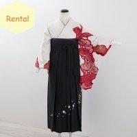 《レンタル》卒業袴【着物:白地赤絞り松・袴:黒】