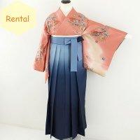 《レンタル》卒業袴【着物:ピンク京紅型・袴:ブルーグラデーション】