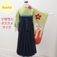 《レンタル》卒業袴【着物:黄緑アンティーク・袴:紺】