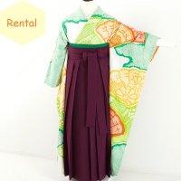《レンタル》卒業袴【着物:オレンジグリーン絞り・袴:紫】