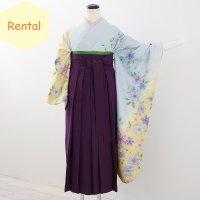 《レンタル》卒業袴【着物:水色クレマチス振袖・袴:紫】