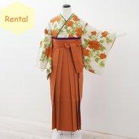 《レンタル》卒業袴【着物:クリーム地牡丹小紋・袴:オレンジ】