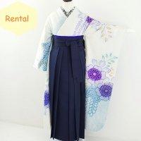 《レンタル》卒業袴【着物:白青総絞り振袖・袴:紺】