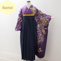 《レンタル》卒業袴【着物:紫洋花に蝶振袖・袴:紺】