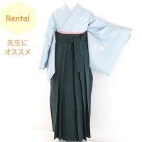 《レンタル》卒業袴【着物:薄水色洋花訪問着・袴:緑】