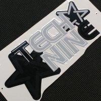 TECHNINE テックナイン【DIE CUT STAR LOGO STICKER】 黒/グレイ 15×7cm  ステッカー(メール便)
