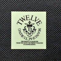 TWELVE トゥエルブ【CROWN LOGO SHEET STICKER】 黒 小  ステッカー 新品正規(メール便)