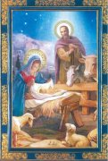 二つ折りクリスマスカード<br>馬小屋<br>73020287の商品画像