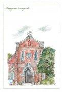 【50%OFF】わたりひさこの<br>長崎の教会ポストカード<br>青砂ヶ浦天主堂の商品画像