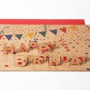 #445 木製ポップアップカード<br />(ハッピーバースデー)の商品画像