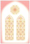 山崎美枝子 洗礼用メッセージカード/花のステンドグラスの礼拝堂(ピンク) 聖句入りの商品画像