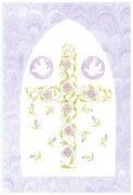 山崎美枝子 洗礼用メッセージカード/鳩と青紫の花の十字架 聖句入りの商品画像