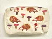 ミラー刺繍マチ付きポーチハリネズミ(白)の商品画像