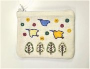 ミラー刺繍ティッシュ入れミニポーチちどり(白)の商品画像