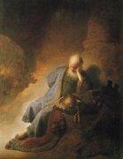 �エルサレムの滅亡を嘆く預言者エレミヤ<br>アートバイブル額装絵画シリーズの商品画像
