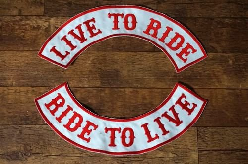 LIVE TO RIDE RIDE TO LIVE デニムベスト ワッペン