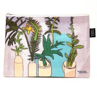 フラットポーチmizuno takao/あわはき草しぶい植物たち