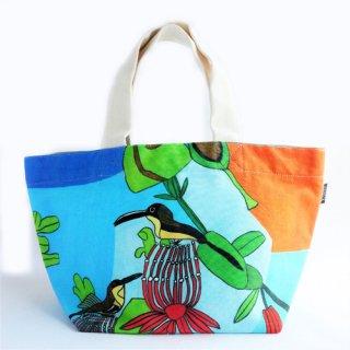 ミニトートバッグ takao mizuno/青空とお花にとまっている二羽の小鳥
